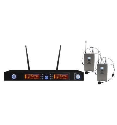 Doppio Radiomicrofono UHF ad archetto