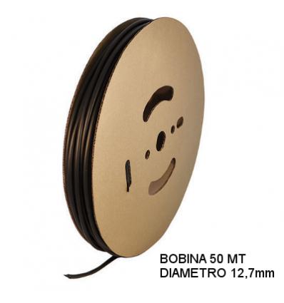 Guaina Termorestringente Nera 12,7mm - in Bobina da 50 MT