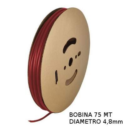 Guaina Termorestringente Rossa 4,8mm - in Bobina da 75 MT