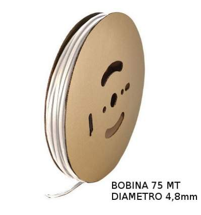 Guaina Termorestringente Bianca 4,8mm - in Bobina da 75 MT