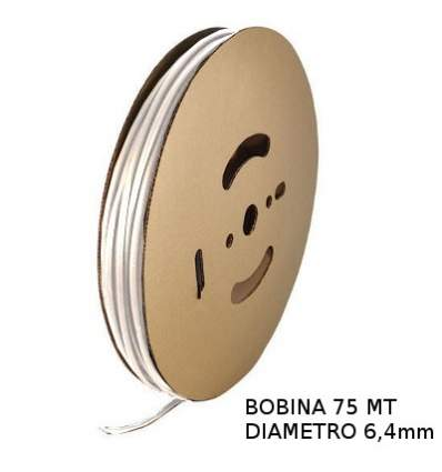 Guaina Termorestringente Bianca 6,4mm - in Bobina da 75 MT