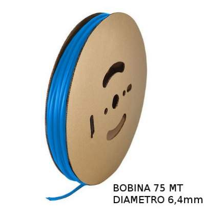 Guaina Termorestringente Blu 6,4mm - in Bobina da 75 MT