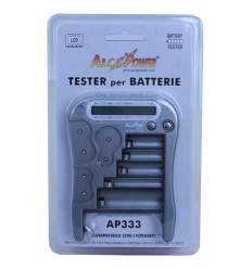 Tester per batterie AA, AAA, C, D e 9V con display LCD