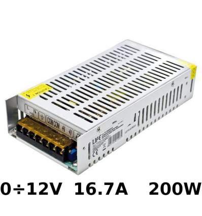 Alimentatore Switching regolabile 0÷12V 16.7A 200W