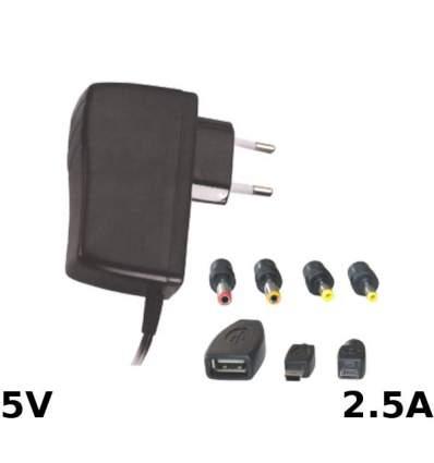 Alimentatore Switching 5V 2.5A con 6 Adattatori