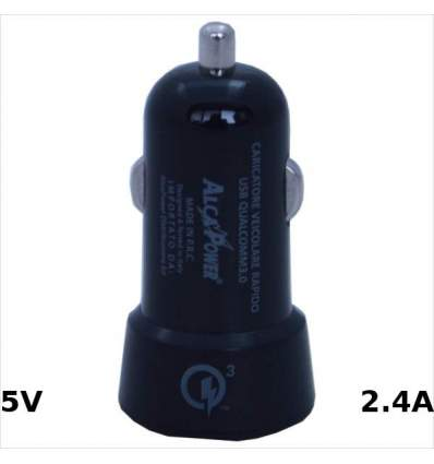 Alimentatore USB da Accendisigari 5V 2,4A Quick Charge